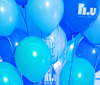 Baloons in different blue colors.