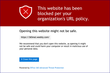 Screenshot showing dialog box in red showing the message that the link has been blocked and that opening the link is not safe.