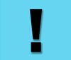 A black exclamation mark, light blue background.