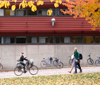 A person on a bicycle and a couple walking, a building in the background and a tree with autumn leav