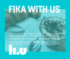 Logo for the podcast Fika with us, a light blue color with a cup of coffee.
