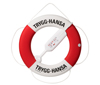 "A  lifebuoy with ""Trygg-Hansa"" printed on it."