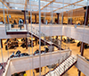 Studenthuset, several floors with students studying.