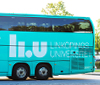 The Campus bus in light green.