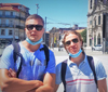 Jonathan Olsson and Niklas Sundell doing some sightseeing in Porto close to Aveiro where they study.