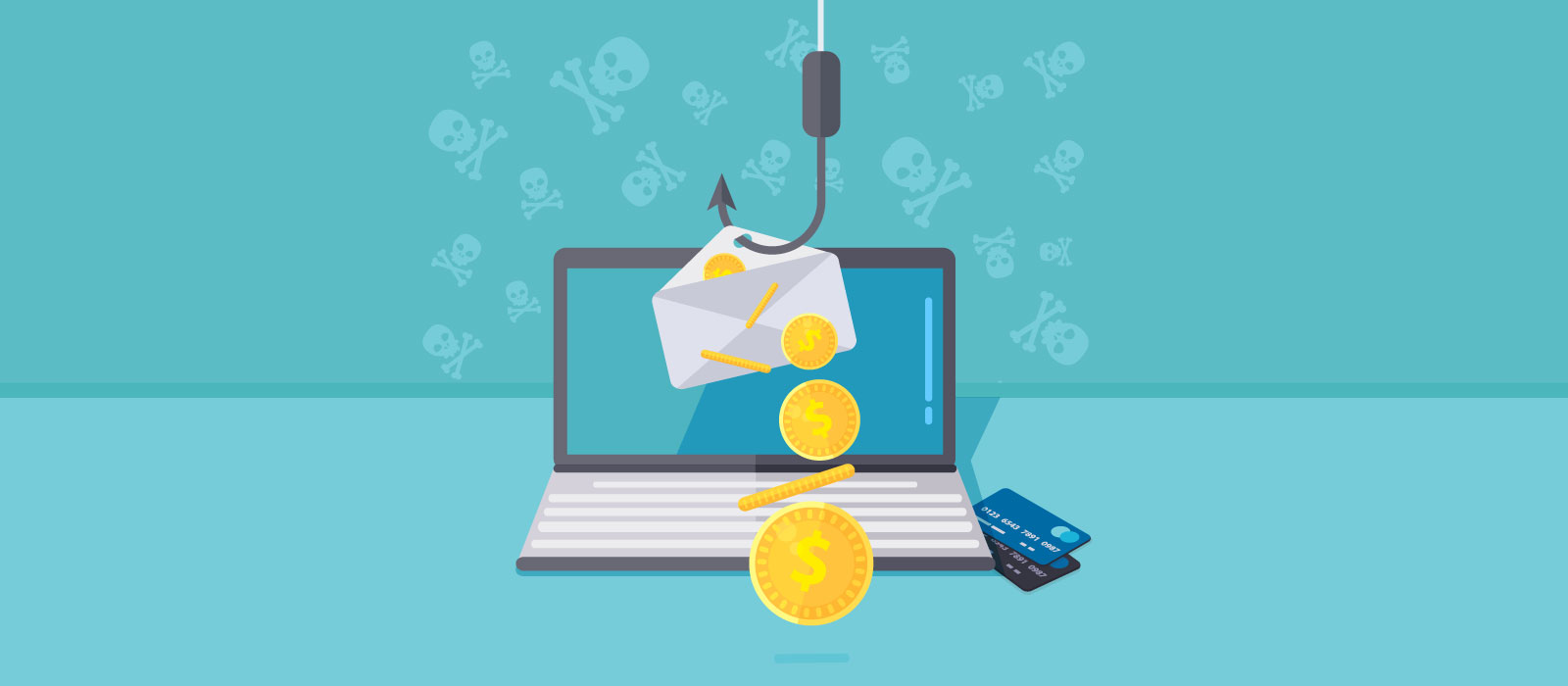 Illustration of phishing: an envelope with money fished up with fishing rod from laptop.